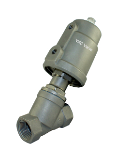 "WIC Valve AVS Series 1-1/4"" Inch Pneumatic Single Acting Air Actuated Angle Seat Valve"