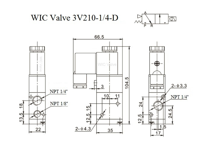 directional control solenoid valve  3 way air valve
