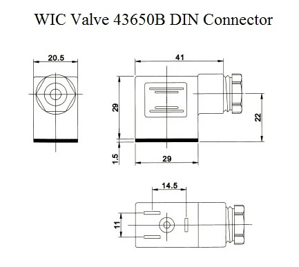 DIN 43650B Connector Dimensions Drawing solenoid valve connector, coil din 43650b, pg9 plastic connector